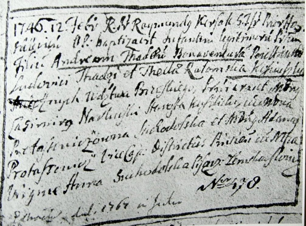 Zapis o chrzcie Tadeusza Kosciuszki